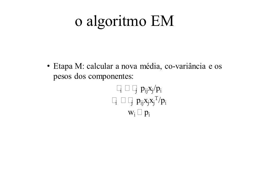 o algoritmo EM Etapa M: calcular a nova média, co-variância e os pesos dos componentes: μi ← Σj pijxj/pi.