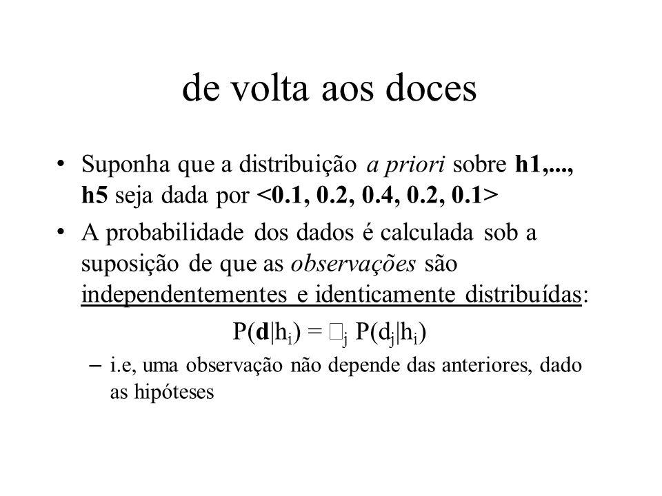 de volta aos docesSuponha que a distribuição a priori sobre h1,..., h5 seja dada por <0.1, 0.2, 0.4, 0.2, 0.1>
