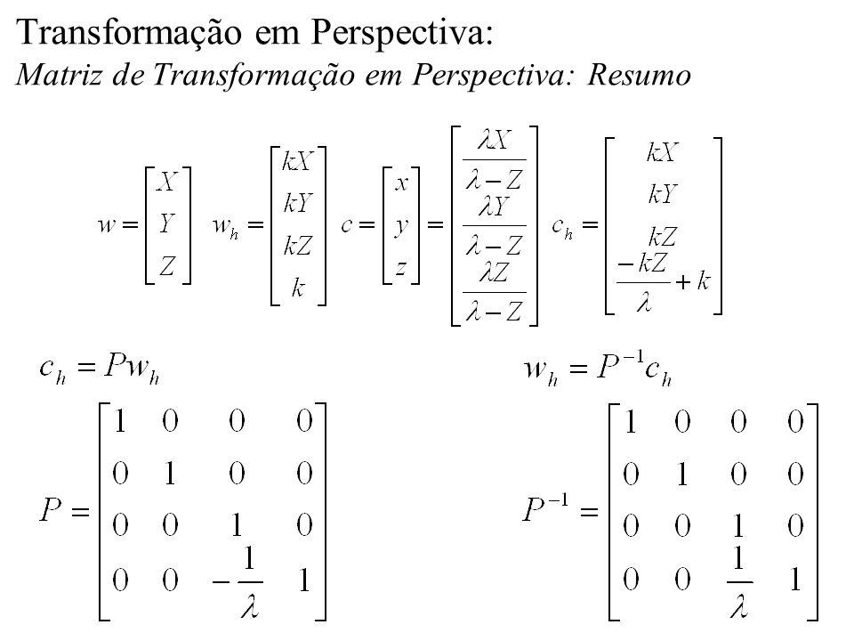 Transformação em Perspectiva: Matriz de Transformação em Perspectiva: Resumo