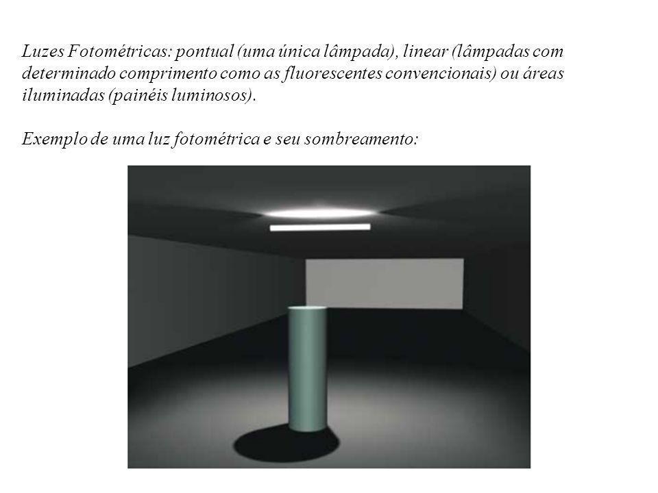 Luzes Fotométricas: pontual (uma única lâmpada), linear (lâmpadas com