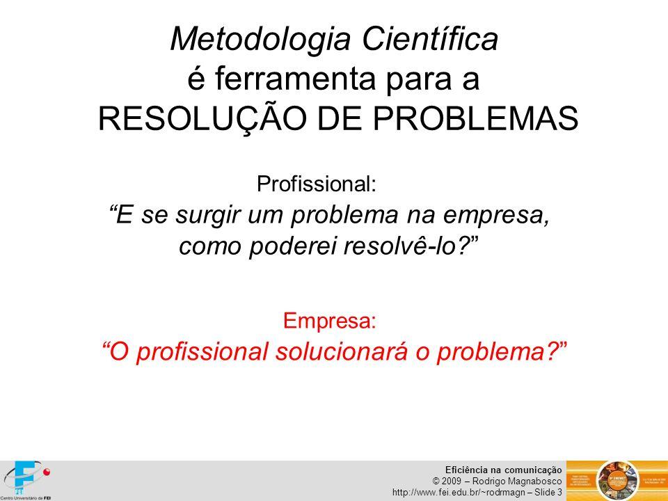 Metodologia Científica é ferramenta para a RESOLUÇÃO DE PROBLEMAS