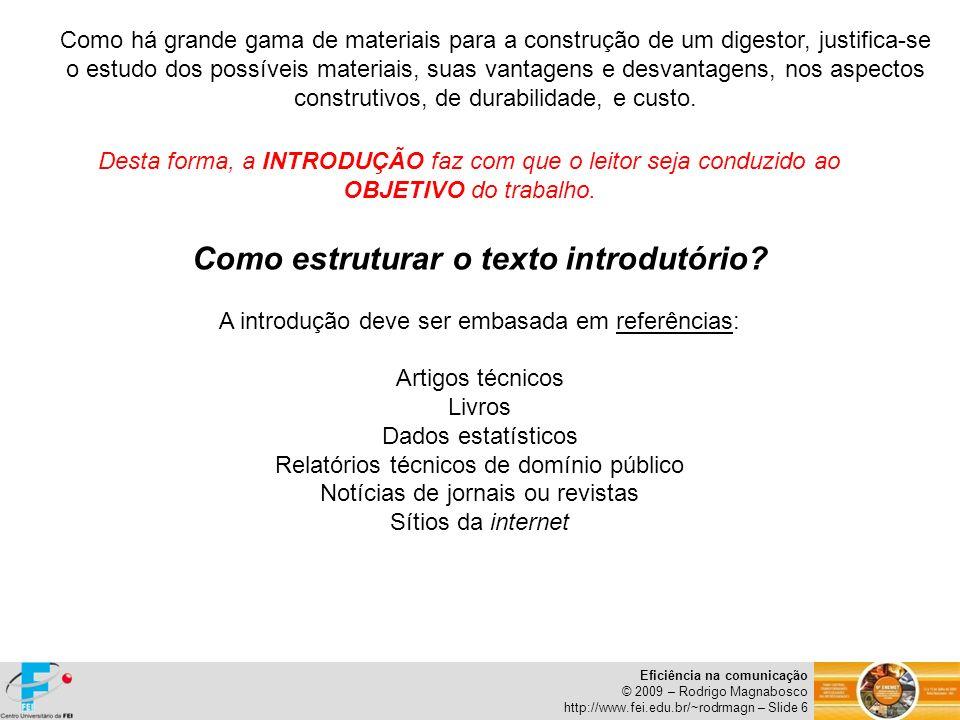 Como estruturar o texto introdutório