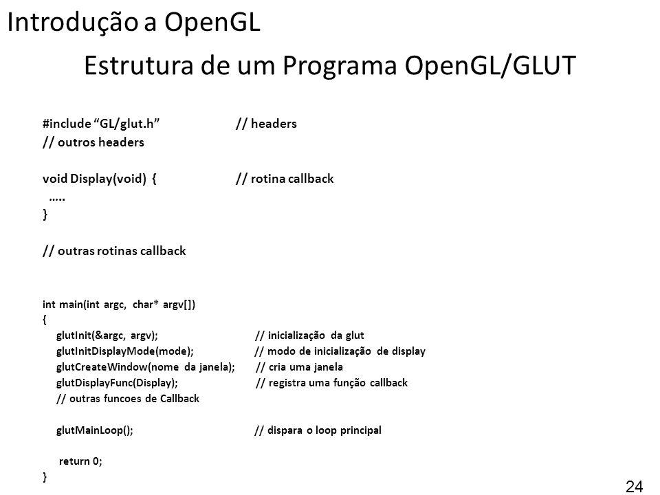 Estrutura de um Programa OpenGL/GLUT