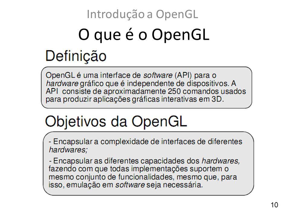 Introdução a OpenGL O que é o OpenGL 10