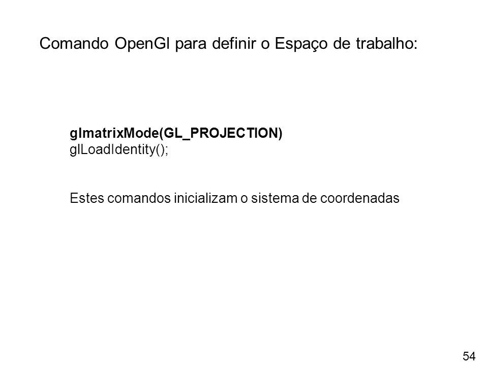 Comando OpenGl para definir o Espaço de trabalho: