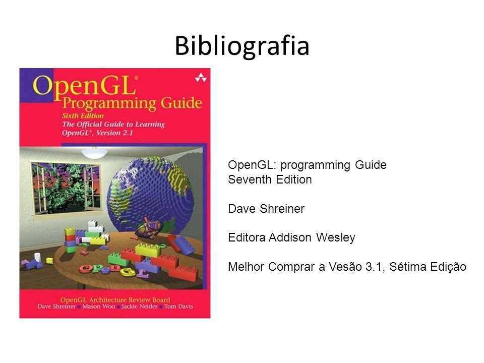 Bibliografia OpenGL: programming Guide Seventh Edition Dave Shreiner