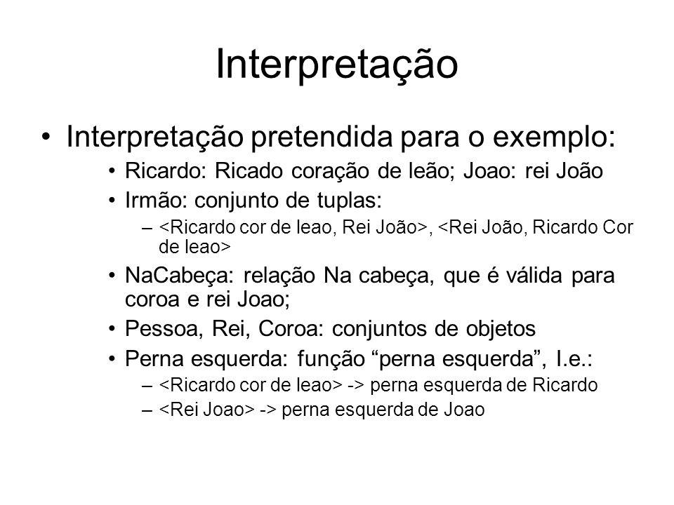 Interpretação Interpretação pretendida para o exemplo: