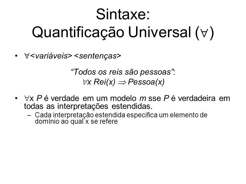 Sintaxe: Quantificação Universal ()