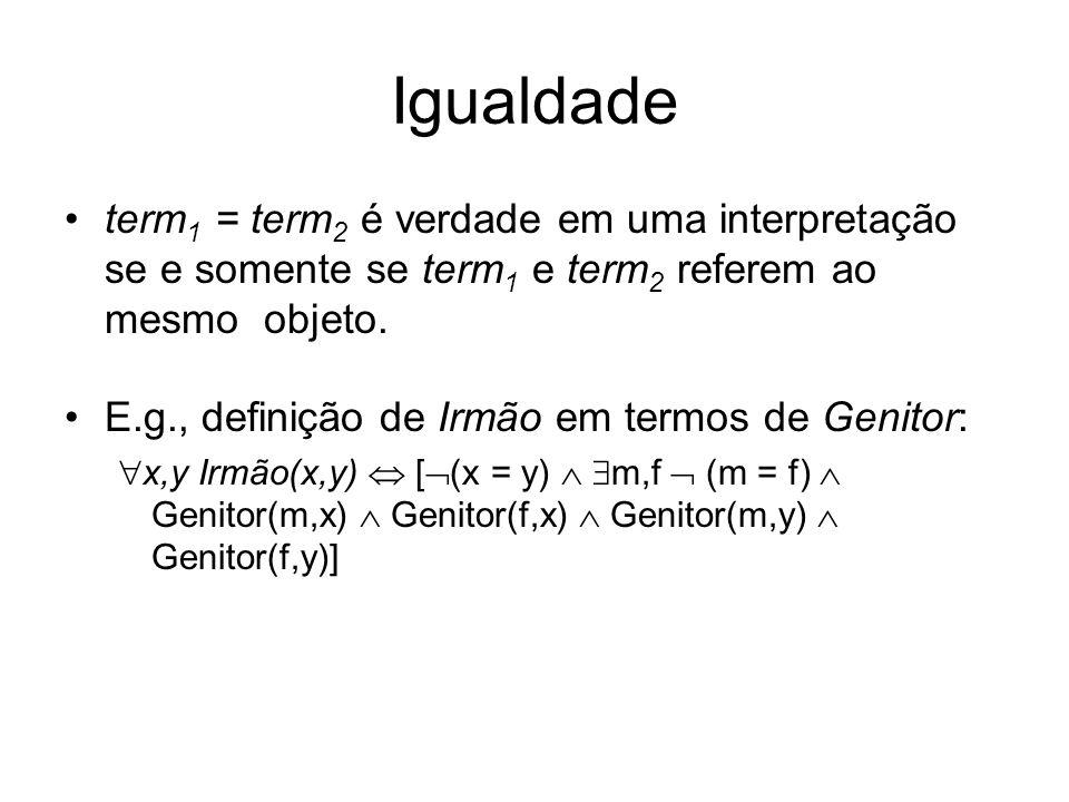 Igualdadeterm1 = term2 é verdade em uma interpretação se e somente se term1 e term2 referem ao mesmo objeto.