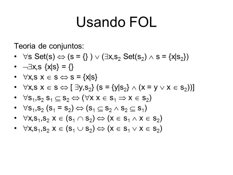 Usando FOL Teoria de conjuntos: