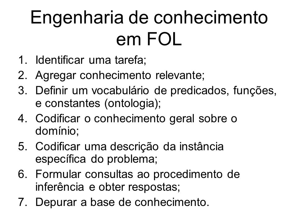 Engenharia de conhecimento em FOL