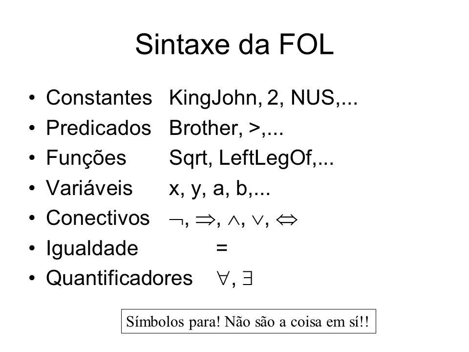 Sintaxe da FOL Constantes KingJohn, 2, NUS,...