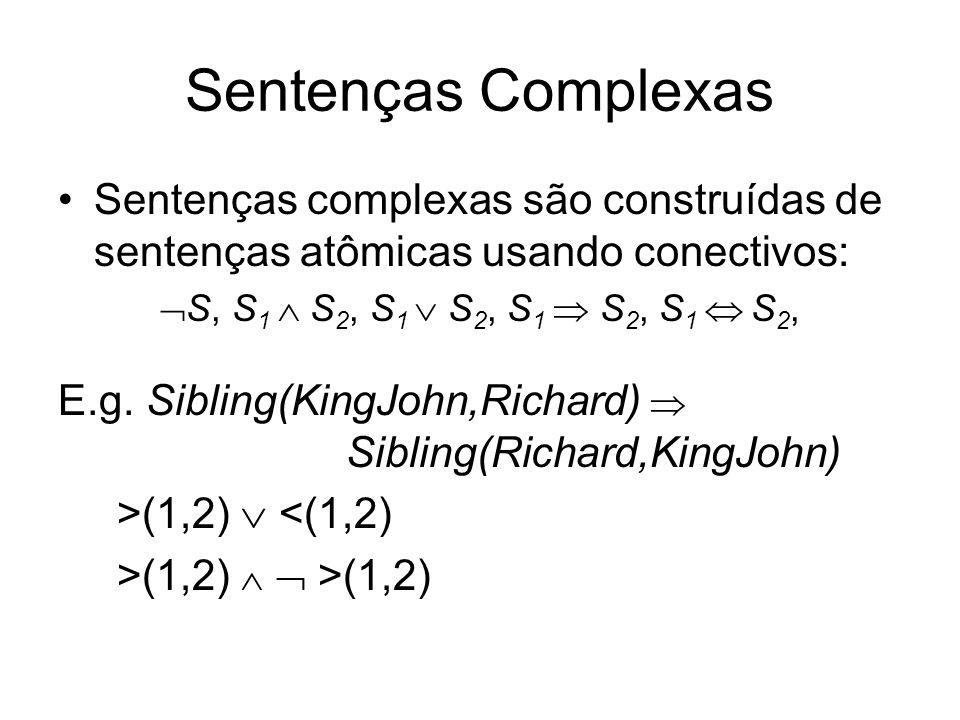 Sentenças Complexas Sentenças complexas são construídas de sentenças atômicas usando conectivos: S, S1  S2, S1  S2, S1  S2, S1  S2,