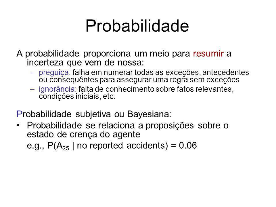 Probabilidade A probabilidade proporciona um meio para resumir a incerteza que vem de nossa: