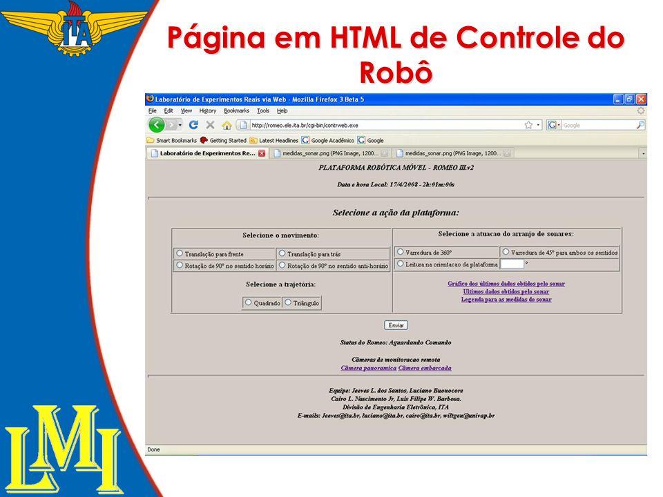 Página em HTML de Controle do Robô