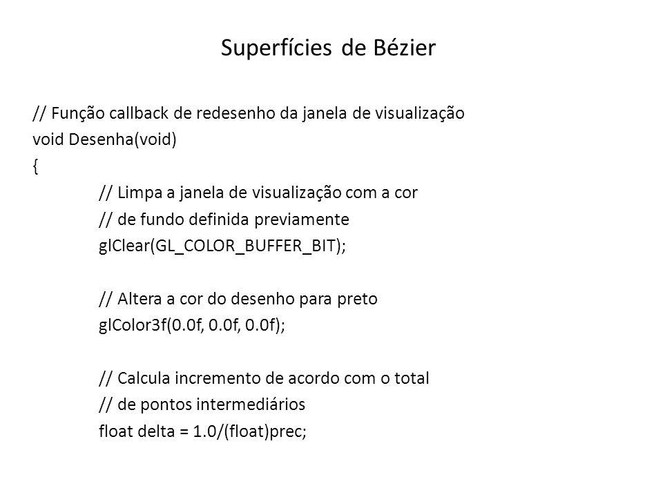 Superfícies de Bézier // Função callback de redesenho da janela de visualização. void Desenha(void)