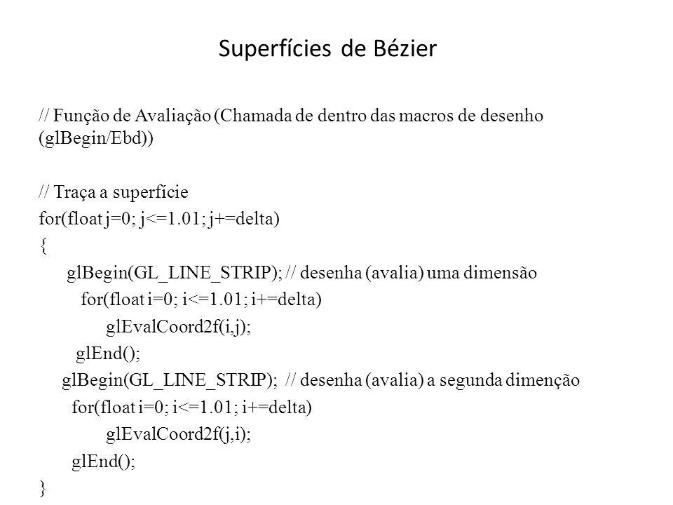 Superfícies de Bézier // Função de Avaliação (Chamada de dentro das macros de desenho (glBegin/Ebd))