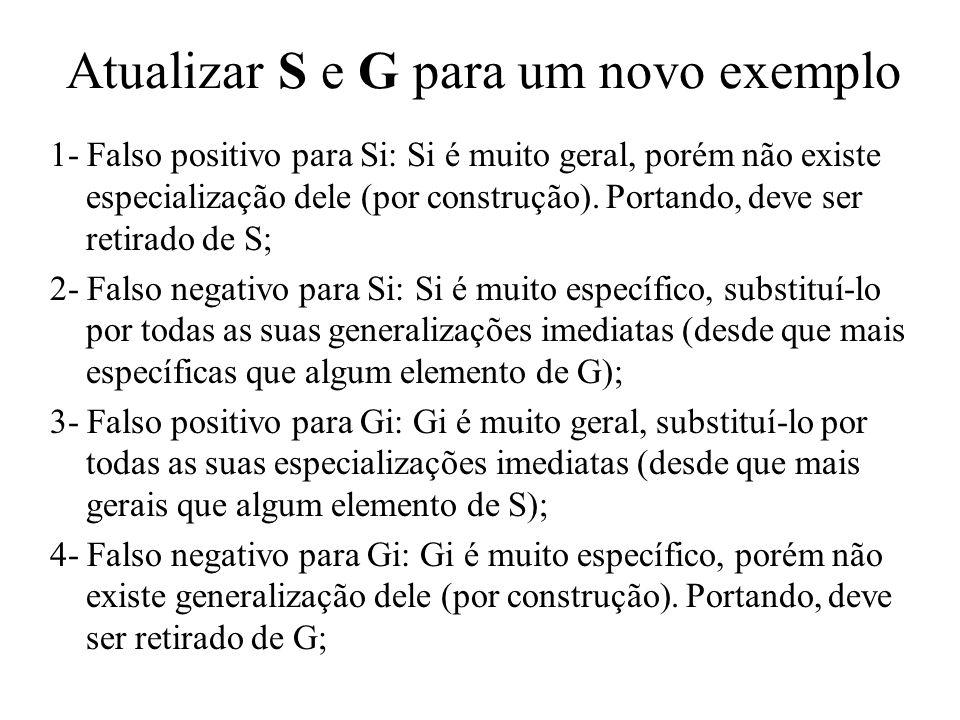 Atualizar S e G para um novo exemplo