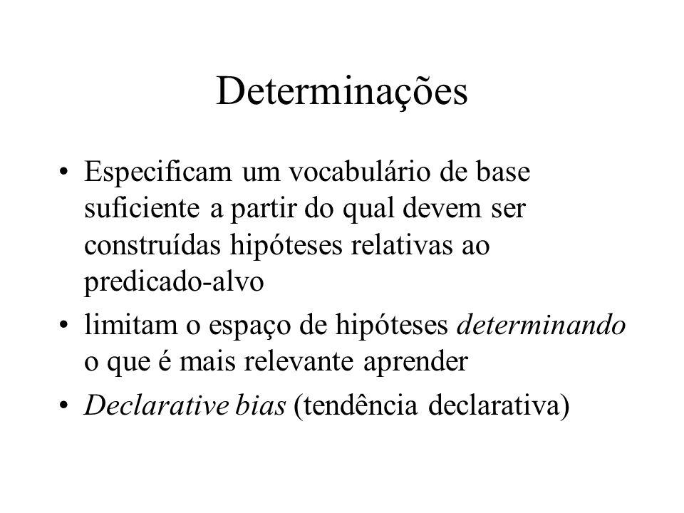 Determinações Especificam um vocabulário de base suficiente a partir do qual devem ser construídas hipóteses relativas ao predicado-alvo.
