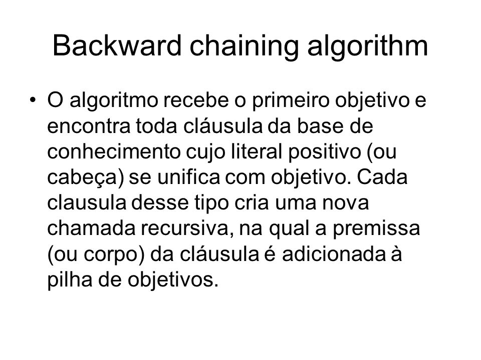 Backward chaining algorithm