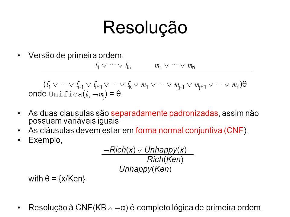 Resolução Versão de primeira ordem: l1  ···  lk, m1  ···  mn
