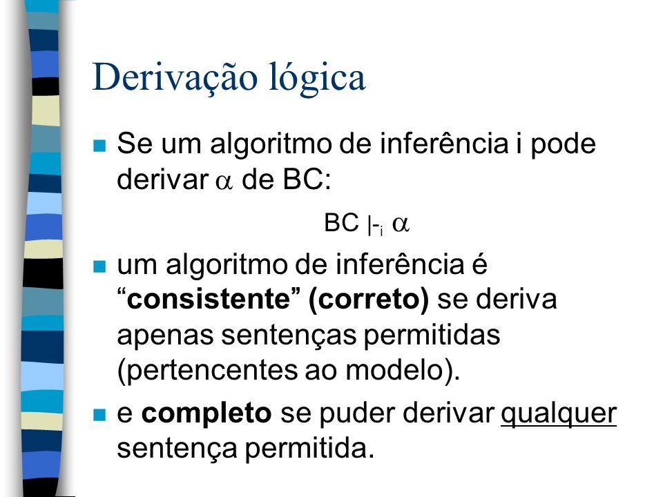 Derivação lógica Se um algoritmo de inferência i pode derivar  de BC:
