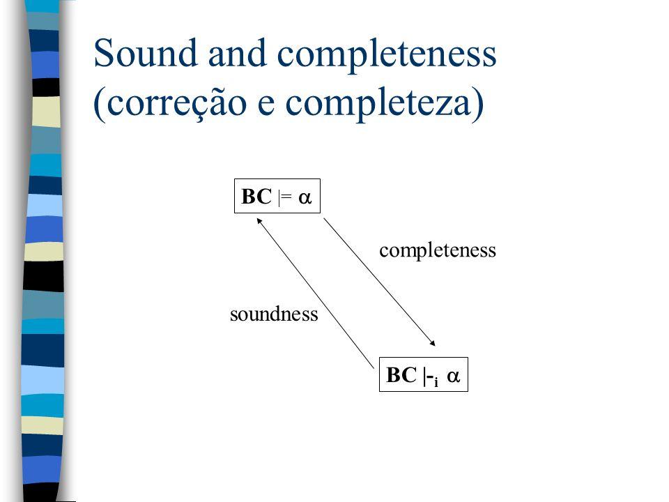 Sound and completeness (correção e completeza)