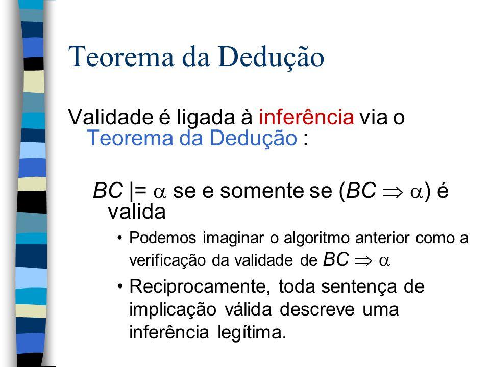 Teorema da DeduçãoValidade é ligada à inferência via o Teorema da Dedução : BC |=  se e somente se (BC  ) é valida.