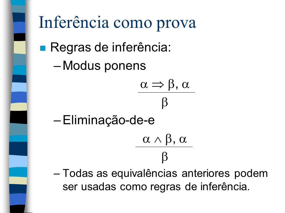 Inferência como prova Regras de inferência: Modus ponens   ,  