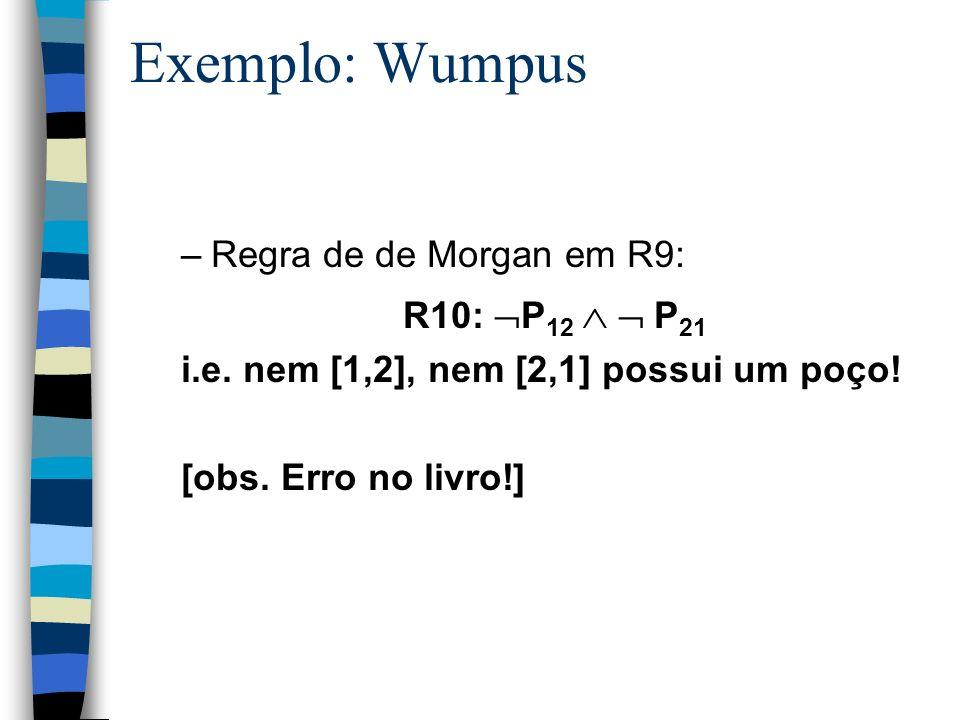Exemplo: Wumpus Regra de de Morgan em R9: R10: P12   P21