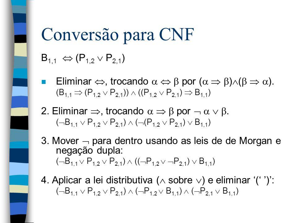 Conversão para CNF B1,1  (P1,2  P2,1)