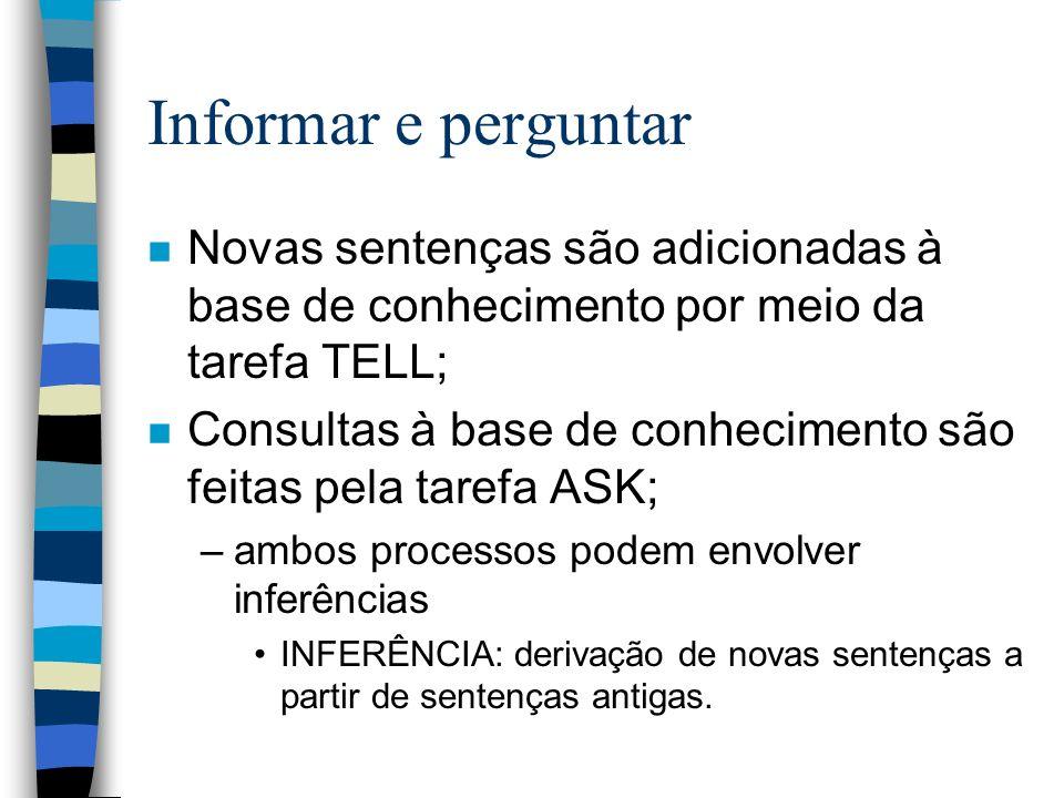 Informar e perguntar Novas sentenças são adicionadas à base de conhecimento por meio da tarefa TELL;