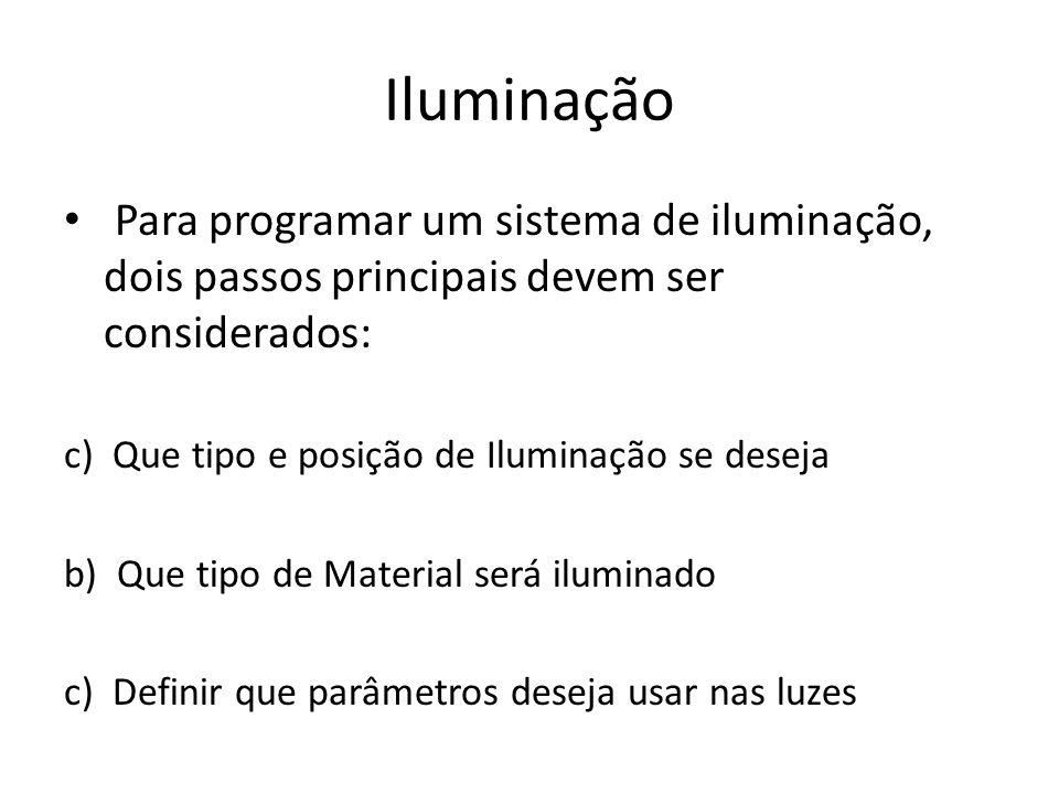 Iluminação Para programar um sistema de iluminação, dois passos principais devem ser considerados: c) Que tipo e posição de Iluminação se deseja.