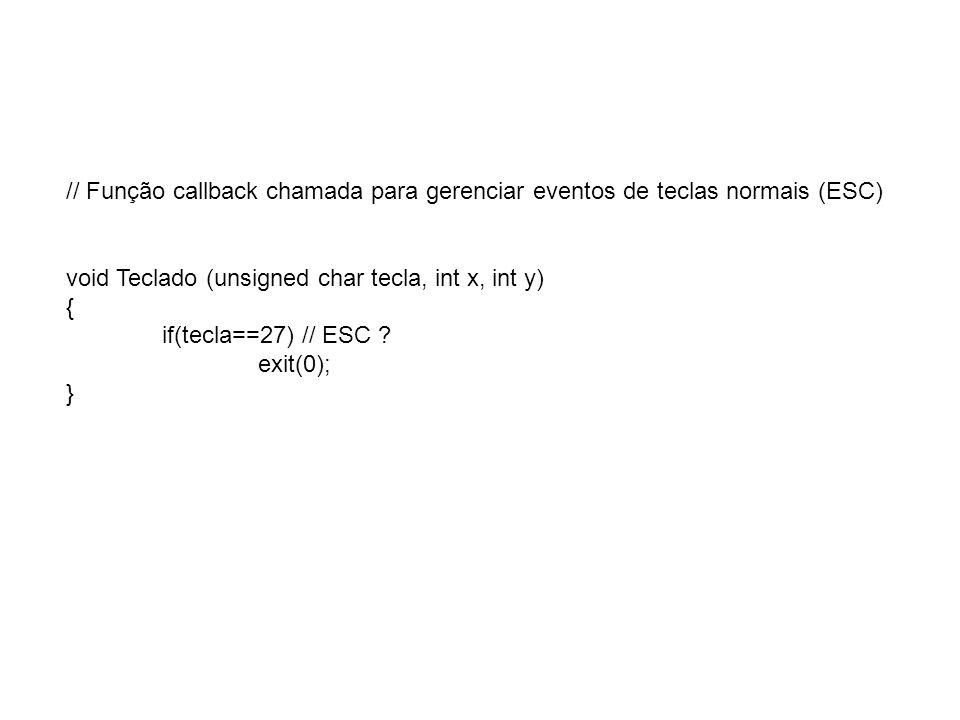 // Função callback chamada para gerenciar eventos de teclas normais (ESC)