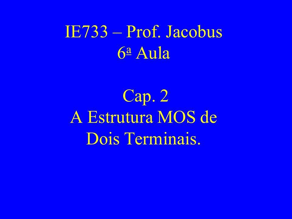 IE733 – Prof. Jacobus 6a Aula Cap. 2 A Estrutura MOS de Dois Terminais.