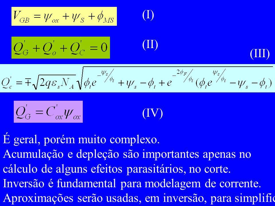 (I) (II) (III) (IV) É geral, porém muito complexo. Acumulação e depleção são importantes apenas no.