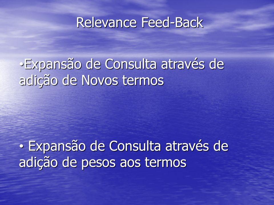 Relevance Feed-BackExpansão de Consulta através de adição de Novos termos.