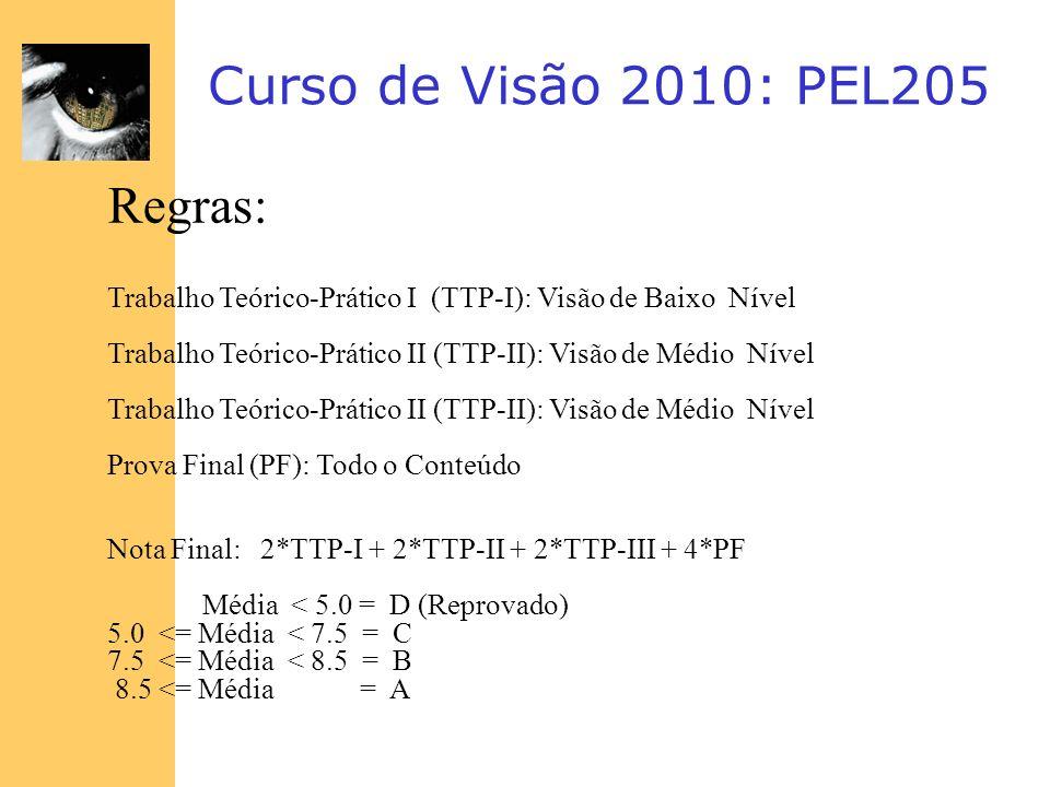 Curso de Visão 2010: PEL205 Regras: