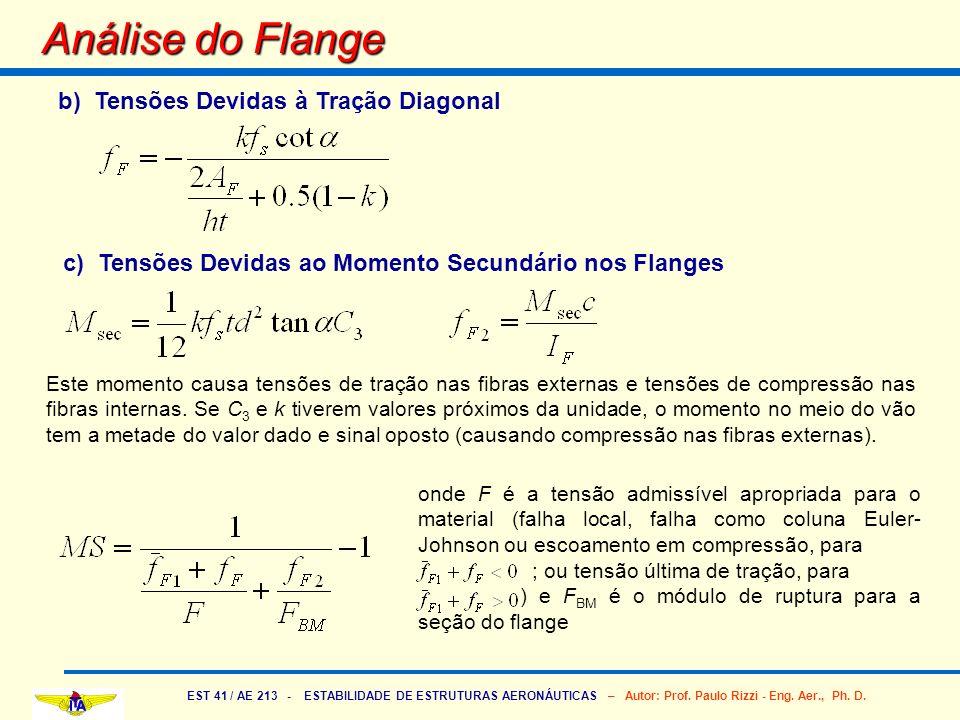 Análise do Flange b) Tensões Devidas à Tração Diagonal
