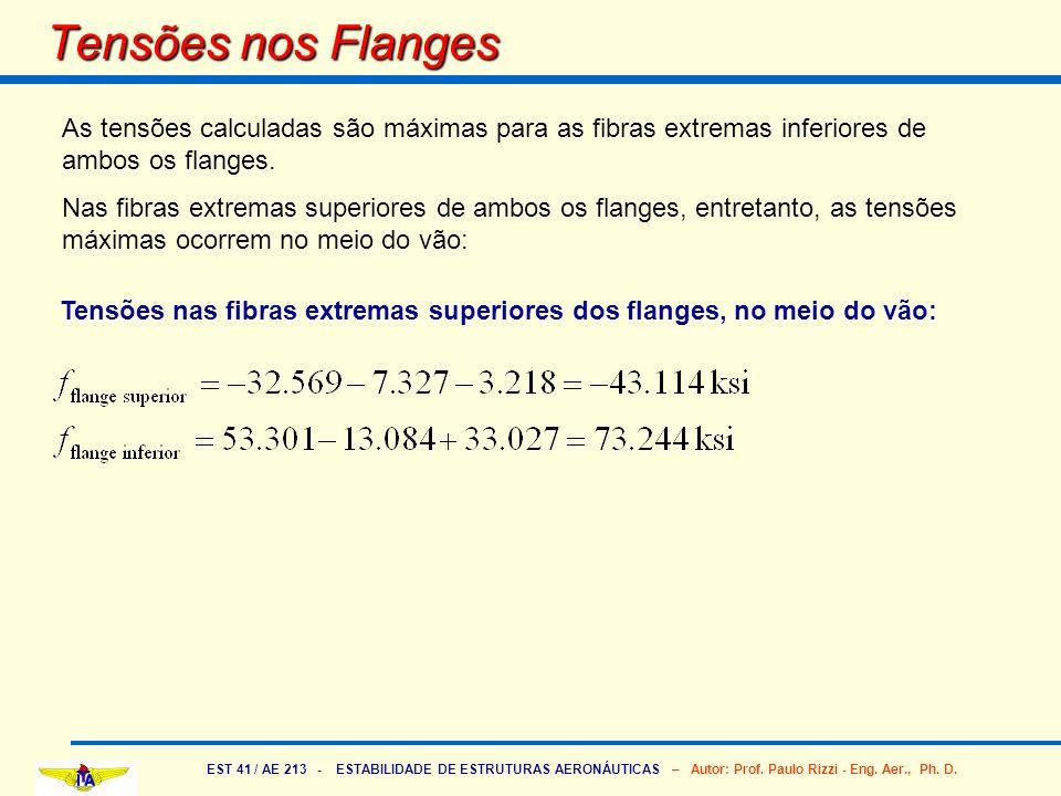 Tensões nos FlangesAs tensões calculadas são máximas para as fibras extremas inferiores de ambos os flanges.