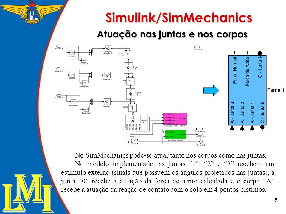 Simulink/SimMechanics Atuação nas juntas e nos corpos