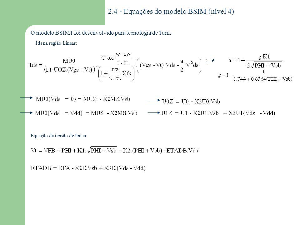 2.4 - Equações do modelo BSIM (nível 4)
