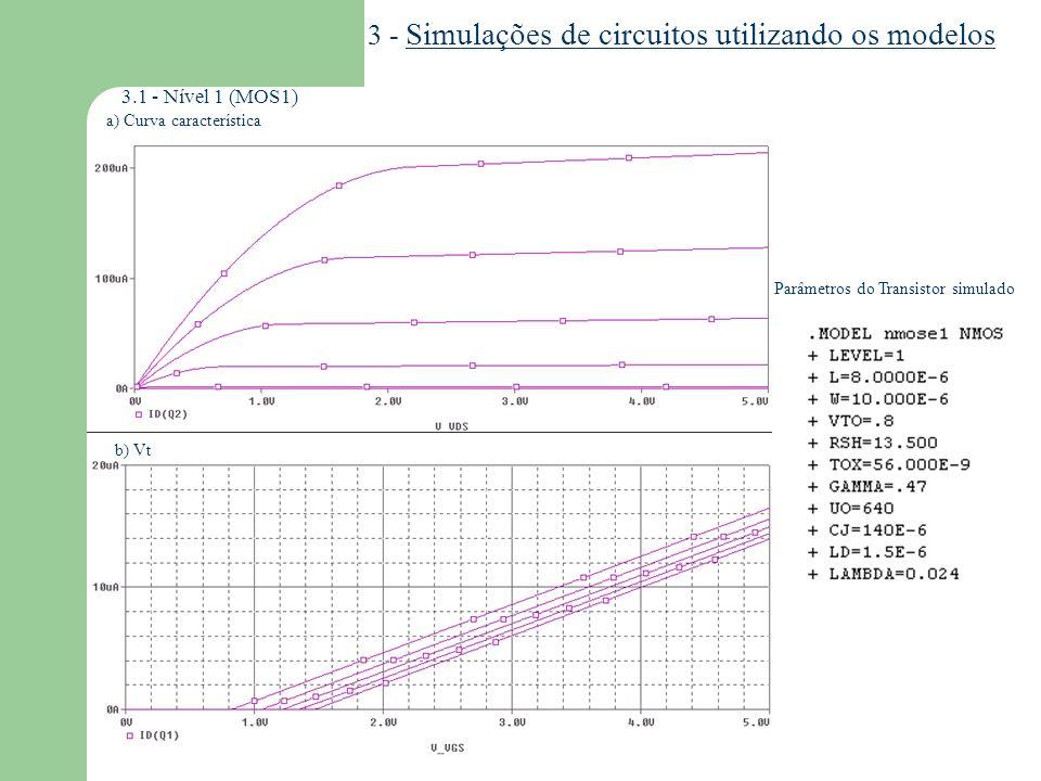 3 - Simulações de circuitos utilizando os modelos