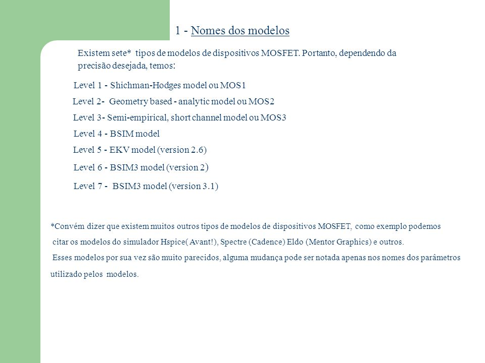 1 - Nomes dos modelos Existem sete* tipos de modelos de dispositivos MOSFET. Portanto, dependendo da.