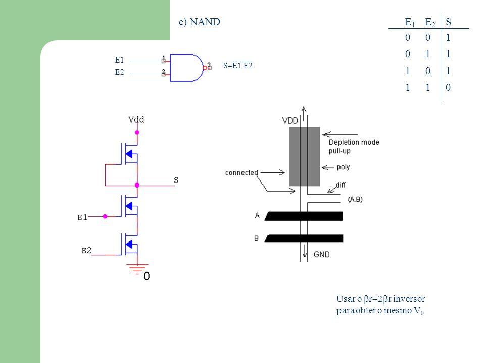 c) NAND E1 1 E2 1 S 1 Usar o r=2r inversor para obter o mesmo V0 E1