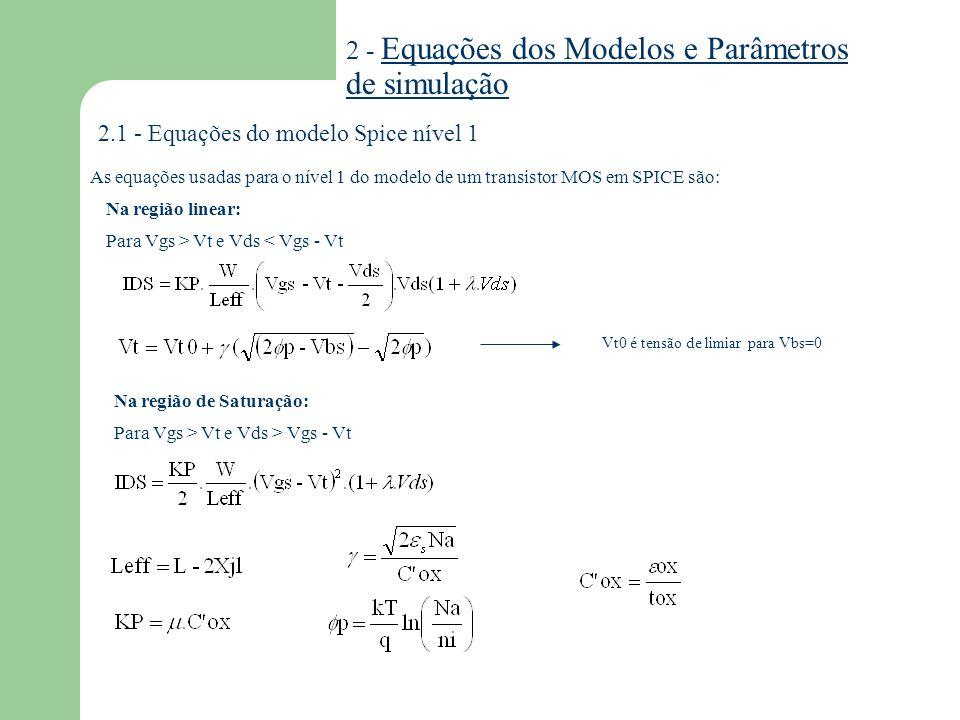 2 - Equações dos Modelos e Parâmetros de simulação