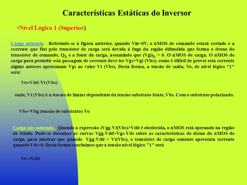 Características Estáticas do Inversor