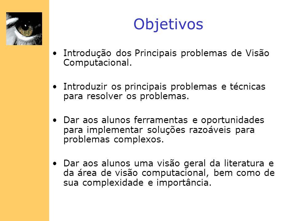 Objetivos Introdução dos Principais problemas de Visão Computacional.