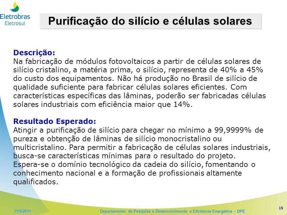 Purificação do silício e células solares
