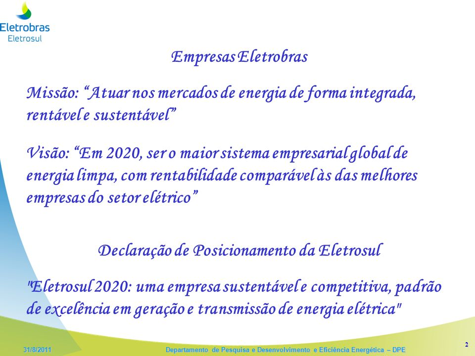Declaração de Posicionamento da Eletrosul
